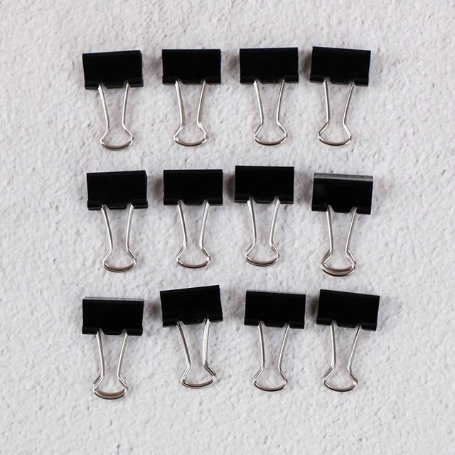 12pcs 15mm Metal Binder Clips Notes File Letter Paper Clip Photo Binding Stationery Binder Clips Office Binding Supplies