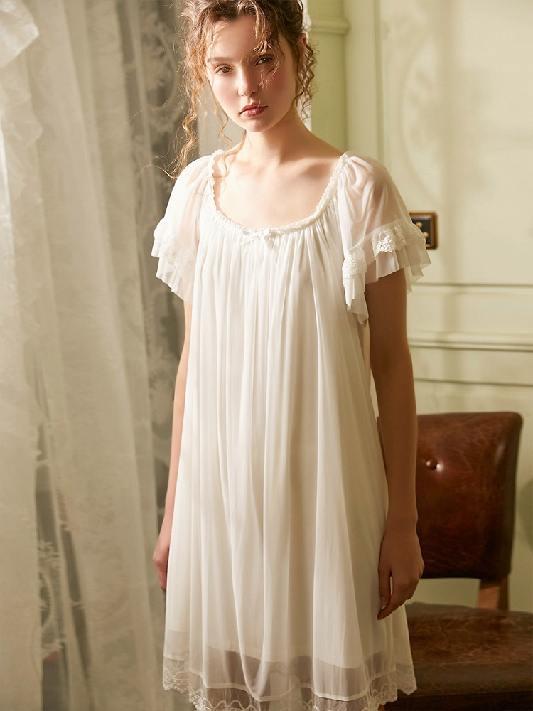 Vintage Girl/'s or Women/'s Nightgown Short Sleeve Lace Trim Natural Cotton Ribbon Loose Fit Spring Summer Dress Antique Style