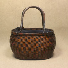 Japanese Handmade Bamboo Woven Bag Women's Hand-held Beach Bag Retro Made Old Bamboo Storage Basket Handicraft Travel Tote