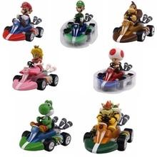 13cm Super Mario Bros Kart Pull Back Racer Car Mario Luigi Yoshi Toad Mushroom Princess Peach Donkey Kong Figure Toy