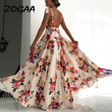 Floral Print Party Club Maxi Dress Women 2019 Sleeveless Backless Sexy Summer Dresses Femme Sling Elegant Long Vestidos