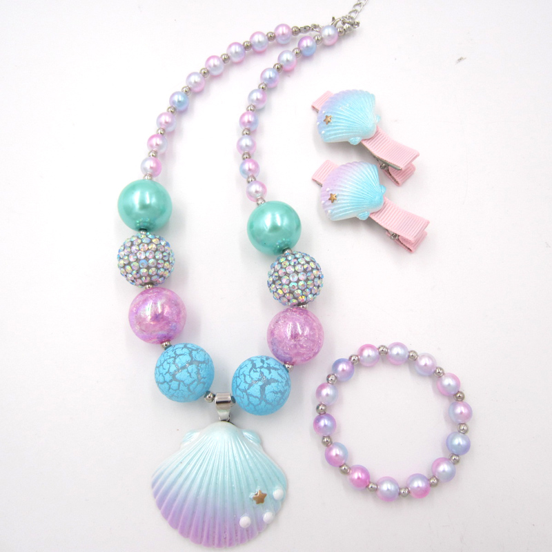 2020 Fashion child Jewelry Girls chunky bubblegum beads necklaces Toddler Pearl necklace Bracelet Hairpin 3pcs/set Gift for kids
