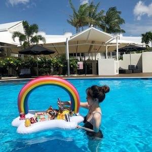 Soporte inflable de gran tamaño para bebidas y alimentos, portavasos para juguetes de piscina, Flotador para juego de piscina, accesorios para fiesta de agua