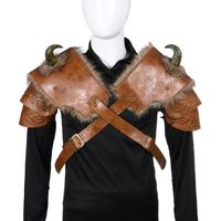 H&ZY Medieval Warrior Men Armour Costume Cosplay LARP Adult PU Leather Brown Fur Viking Shoulder Armor with Horn