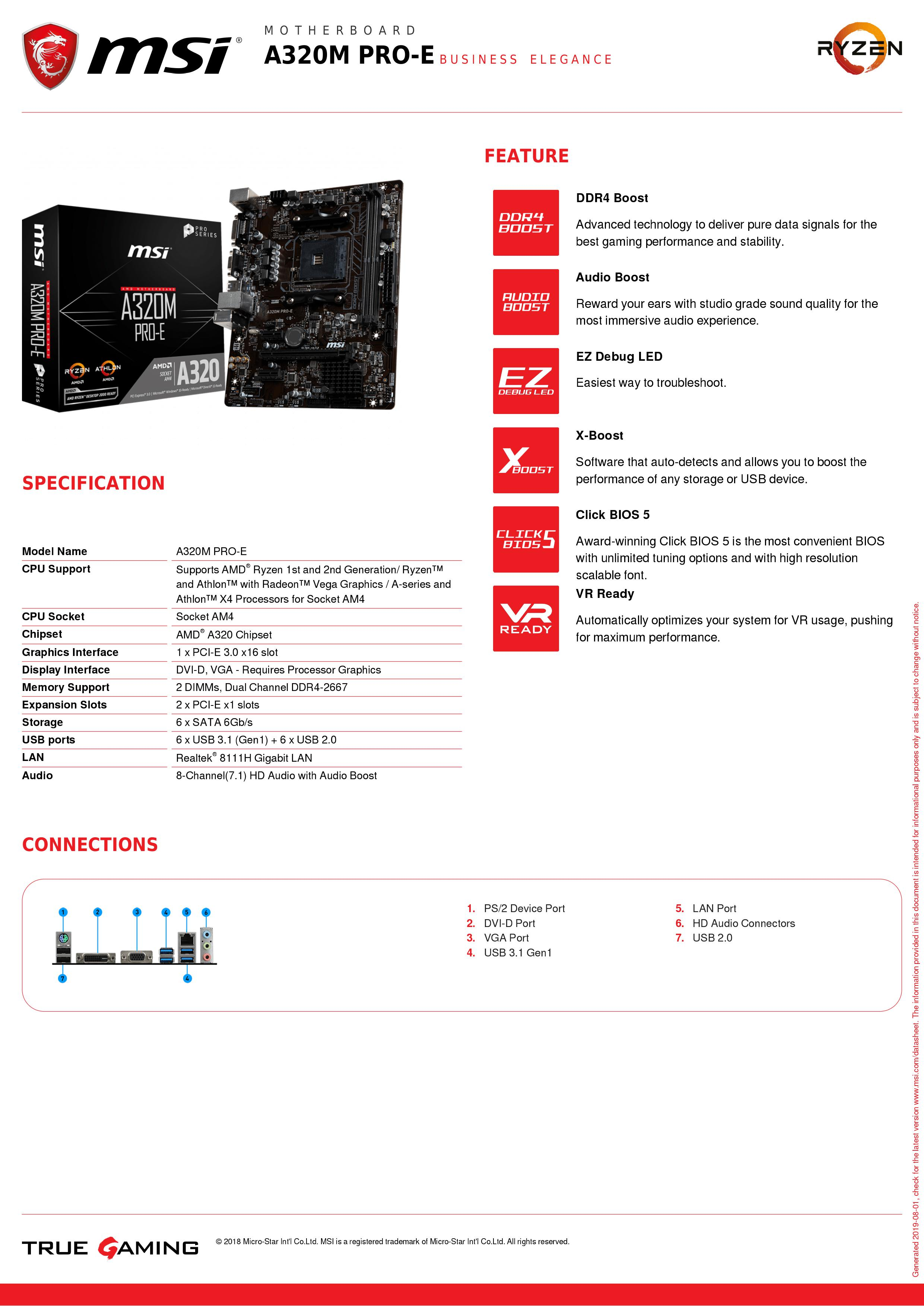 Image 5 - MSI A320M PRO E материнская плата amd am4 socket ryzen DVI dual ddr4 memory slot PCI E Gen3 X16 SATAIII USB3.1 m ATX motherboard-in Motherboards from Computer & Office