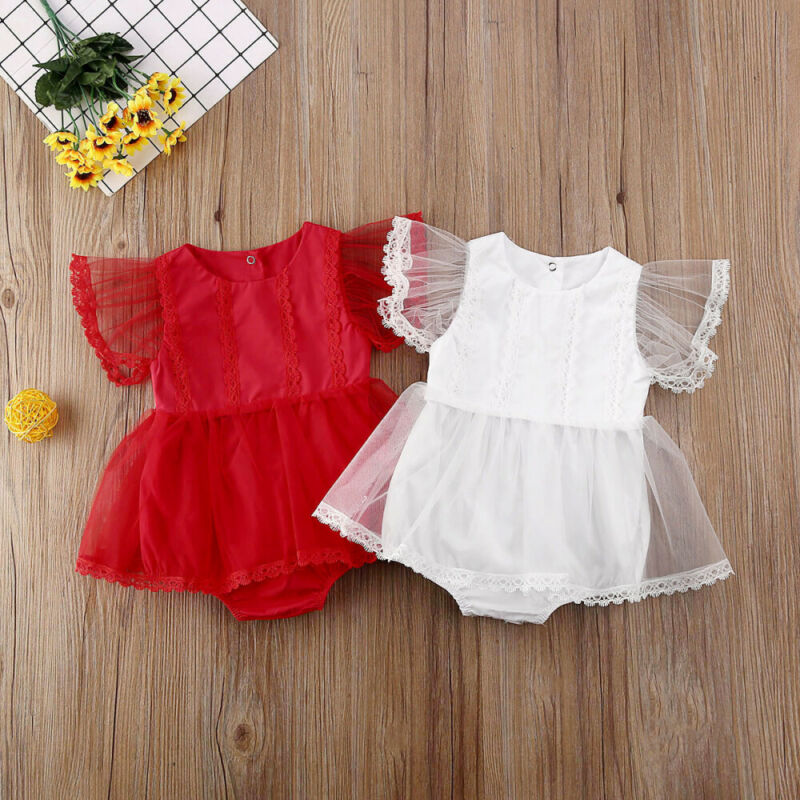 Summer Newborn Baby Girl Clothes Lace Fly Sleeve Tutu Romper Dress Princess Jumpsuit Outfits Red White