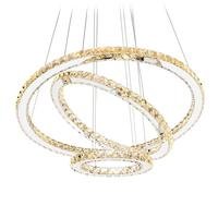 الحديثة كريستال أضواء الثريا السقف الطعام غرفة المعيشة الثريات المعاصرة تركيبات بإضاءة LED طويلة جولة 3-حلقة Foye