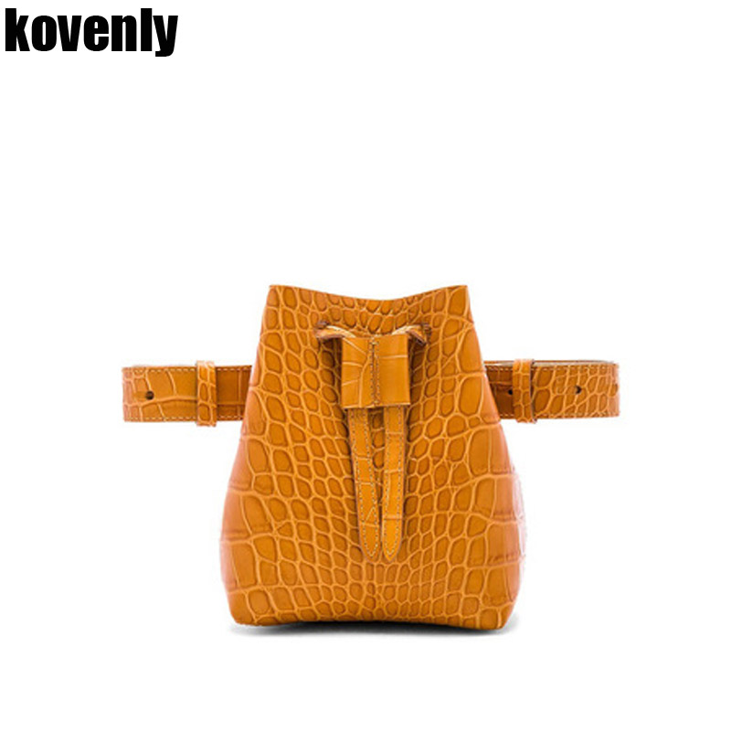 Waist Bag For Women Fanny Pack Bucket Belt Bag Animal Print Serpentine Alligator Leather Women Shoulder Bags Bolsa Feminina