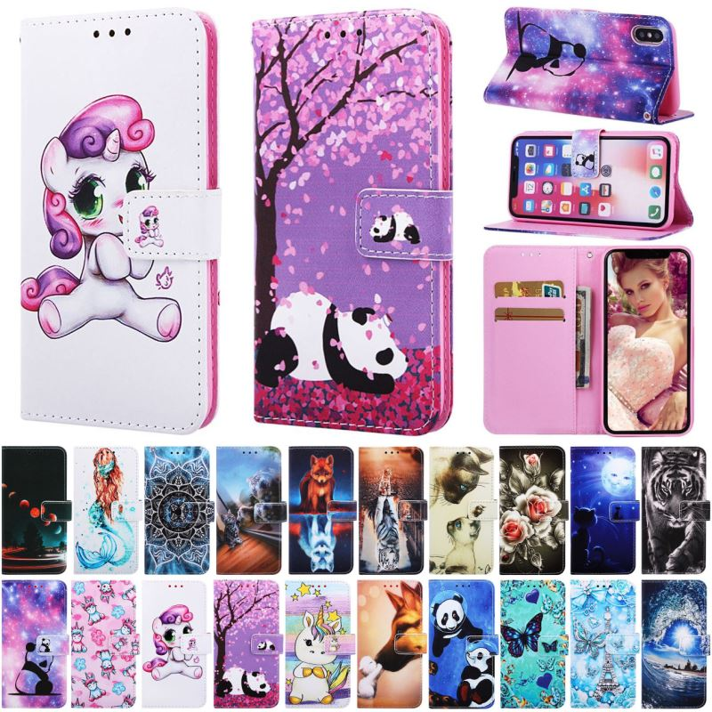 For Fundas Samsung Galaxy M10 M20 M30 S8 J6 Plus A10 A10E A20E A20 A30 A40 A50 A70 Case Wallet Card Slot Cute Flip Cover DP03D