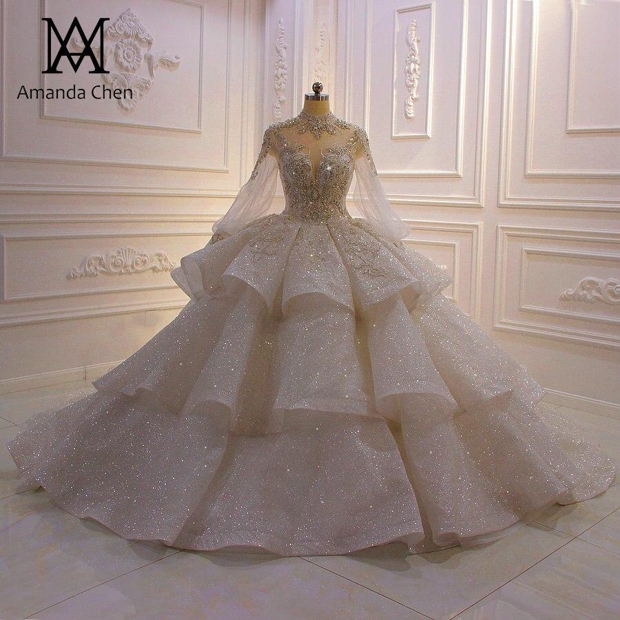 US $19.19 19% OFFhochzeitskleid High Neck Long Sleeve Rhinestone Crystal  Shiny 19 Wedding DressWedding Dresses - AliExpress