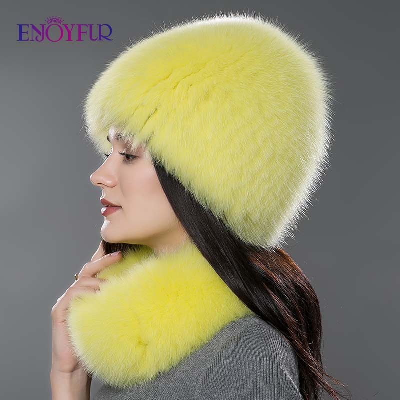 Femmes fourrure chapeau écharpe ensemble pour hiver naturel fourrure de renard écharpe et chapeau couleur unie nouvelle mode rue shoot chapeau et écharpe - 3