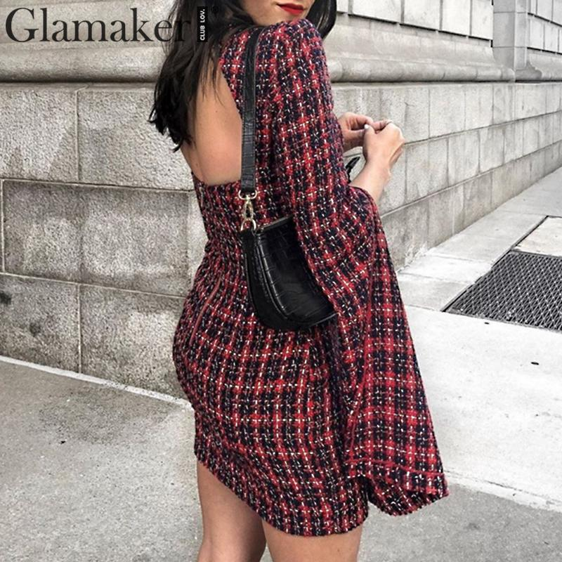 Glamaker Tweed Backless Sexy Mini Dress Winter Split Flare Sleeve Bodycon Autumn Dress Women Short Party Club Elegant Dress