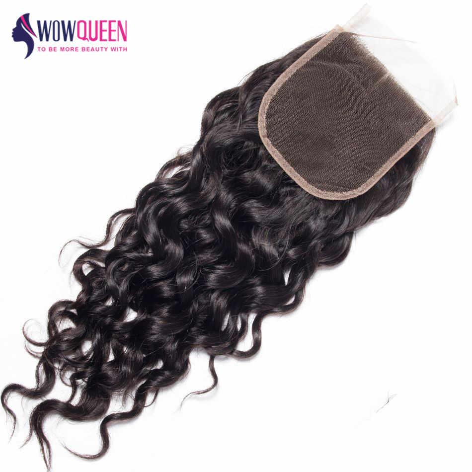 WOWQUEEN, cierre con ondas al agua peruanas, 5 × 5, cierre de encaje 6x6, cierre de encaje, cierre de cabello humano Remy 100% 7 × 7, cierre de encaje