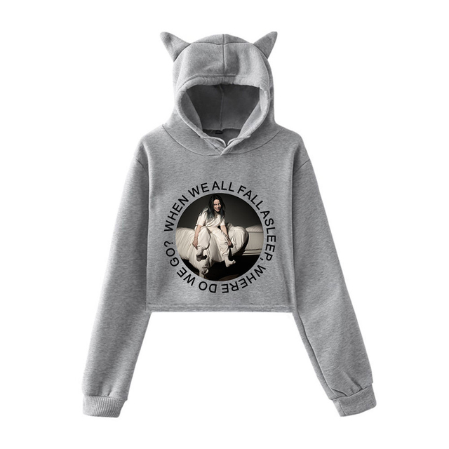 BILLIE EILISH CROP TOP EAR HOODIE (15 VARIAN)