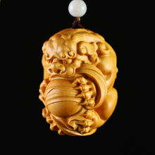 Huang Yang Wood Carving Hand Pixiu Pendant Wenwan Real Wood Carving Handicraft Chinese Auspicious Beast Sculpture(China)