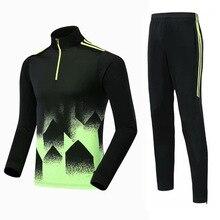 Флисовая футбольная рубашка с длинными рукавами, трикотажный тренировочный костюм для детей, командная форма для матча для взрослых, осенне-зимняя мужская одежда