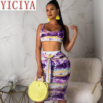 2020 Tie Dye Print Sexy 2 Piece Set Women Summer Night Club Party Two Piece Set Bodycon Tank Top Midi Tie Up Skirt Suit Clothing fashion print casual top shorts two piece suit tie dye set women clothes loose summer clothing pajama set