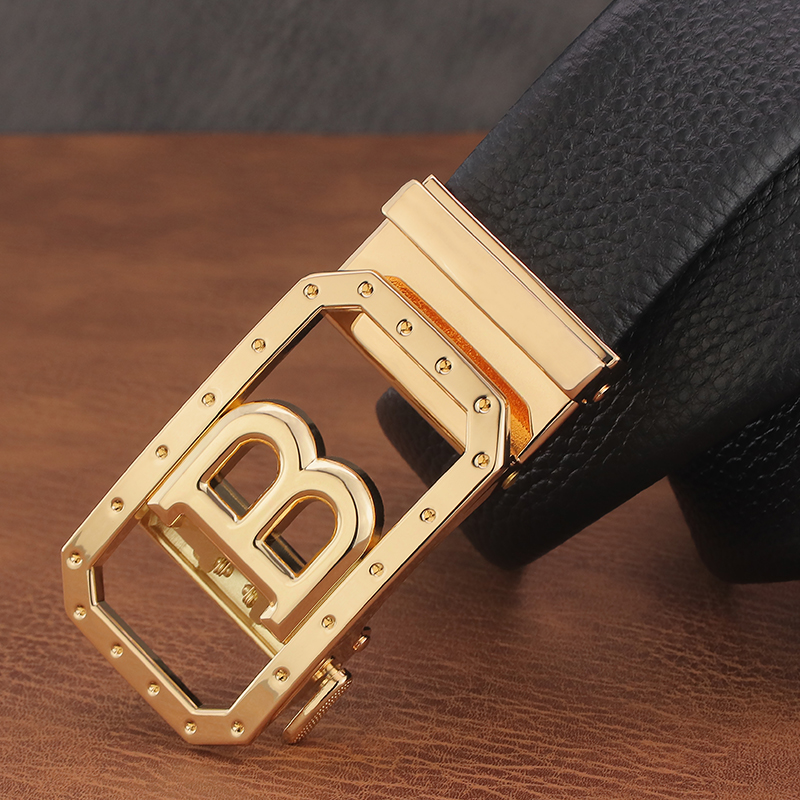 Fashion B Letter Belt Men's Luxury Full Grain Leather Automatic Buckle Men's Belt High Quality Casual Ceinture Men