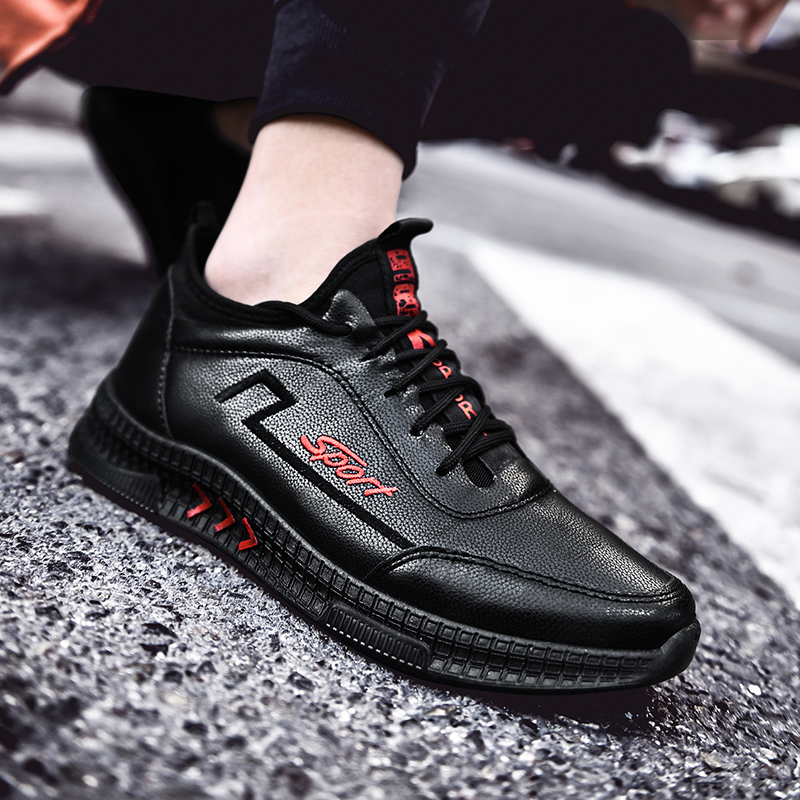 Fashion Men Shoes Spring Autumn Casual Leather Flat Casual Shoes Men Lace-up Low Top Light Male Sneakers Tenis Masculino Adulto