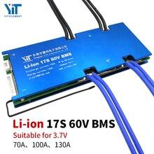 17S 60V 3.7V placa de proteção da bateria de lítio BMS proteção de sobrecorrente de equalização de temperatura PCB 70A 100A 130A