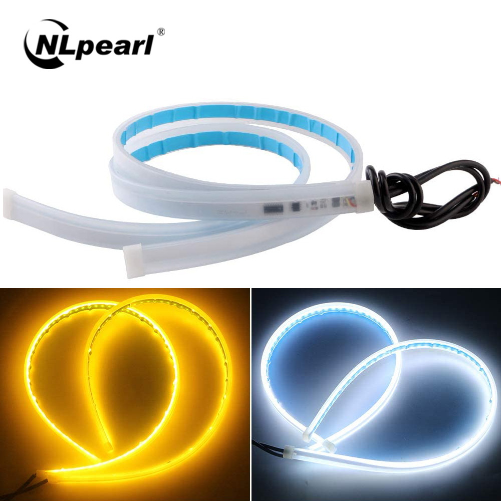 NLpearl 1pair Flexible DRL LED Strip Turn Signal Yellow 12V Soft Tube Guide DRL LED Daytime Running Light for Car Headlights