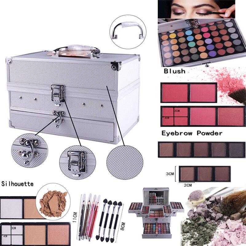 Professionale di Trucco Set Combo matte & shimmer Scatola di Alluminio con Ombretto Blush, fard Contour Polvere Tavolozze per Makeup Artist Kit Regalo