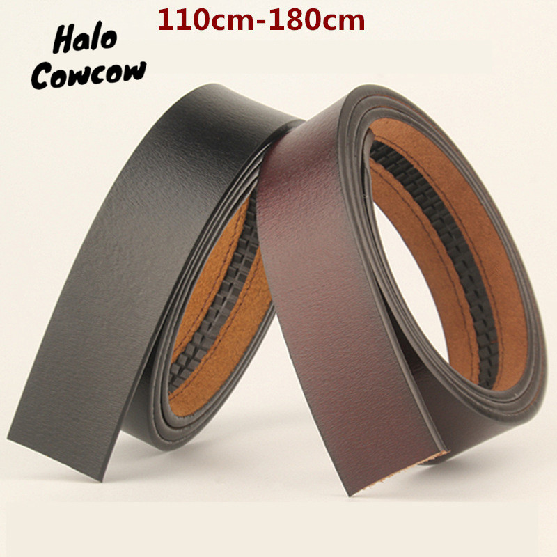 110 130 140 150 160 170 180cm Belt Body No Buckle Men Plus Size Belt Cowhide Genuine Leather Automatic Buckle Belts 3.5cm Width