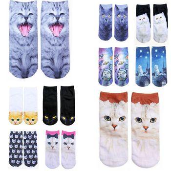 1 Pair Autumn Winter Women Cotton Socks 3D Printed Animals Creative Funny Cartoon Cat Breathable Couple socks
