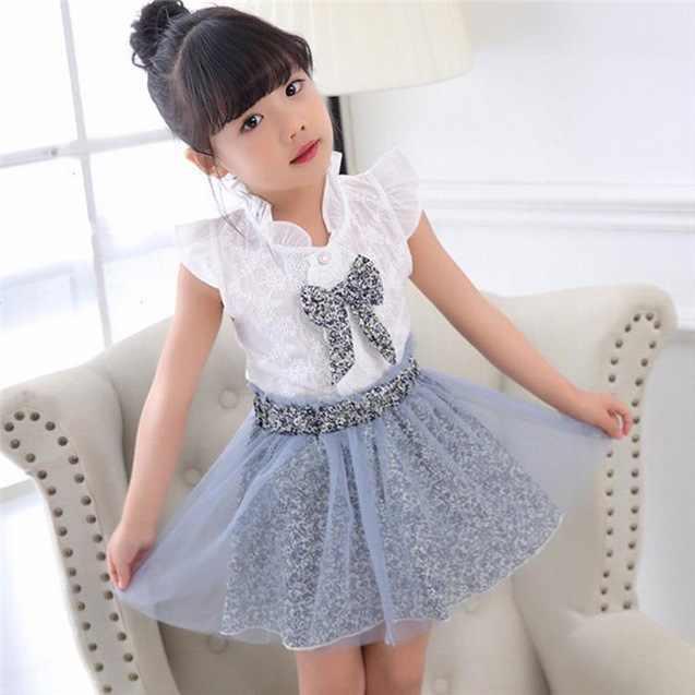 Conjuntos de ropa para niñas verano nuevo estilo de moda para niñas camisetas con estampado de leopardo de dibujos animados + falda de leopardo de red 2 uds Ropa para Niñas
