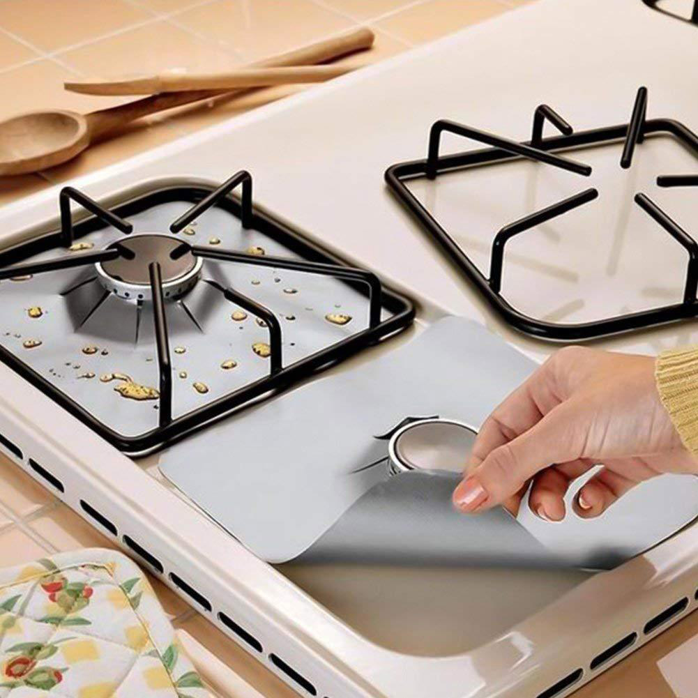 4PCS per Set Reusable and Non Stick Stove Cover Made with Glass Fiber to Protect Gas Stove 5