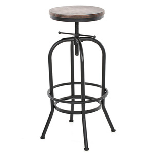 iKayaa Bar Stool Industrial Style Height Adjustable Swivel Bar Stool Natural Pinewood Top Kitchen Dining Breakfast Chair