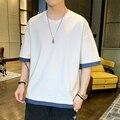 Футболка в Корейском стиле из чистого хлопка с коротким рукавом в стиле хип-хоп, свободная поддельная футболка из двух частей, мужская и жен...