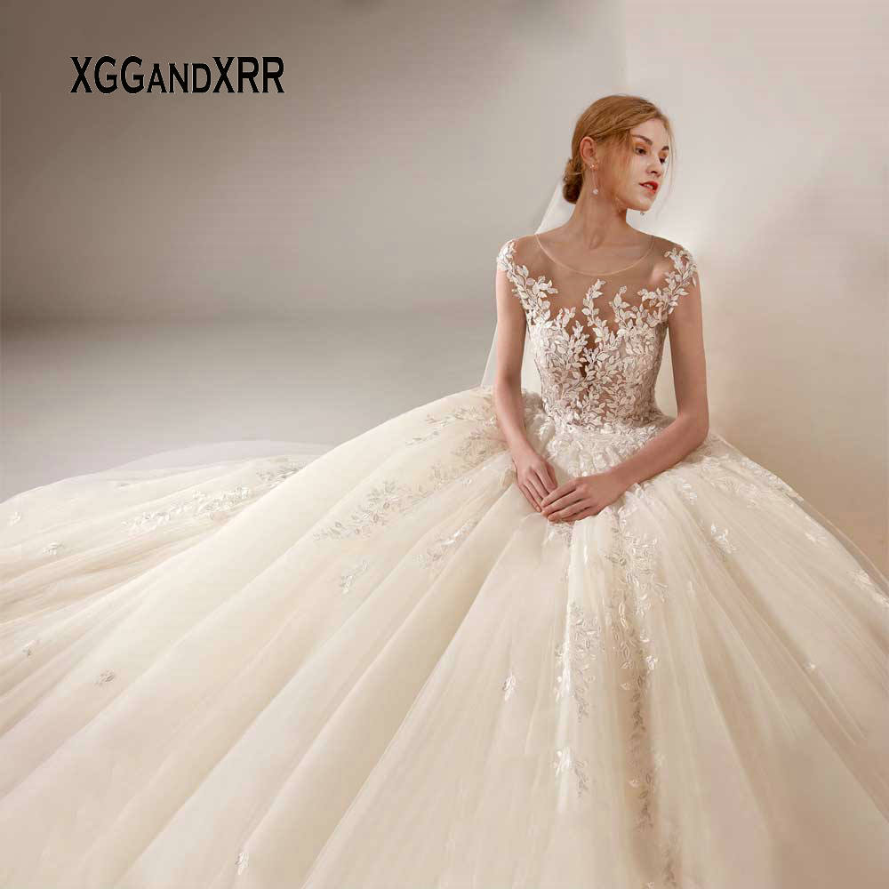 Luxury Wedding Dress 2020 Bridal Gown Lace Embroidery Elegant Cap Sleeves White Ivory Formal Bride Dresses Plus Size