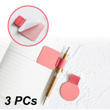 3pcs Climemo Brand Pen Clip, PU Leather Pen Holder, Self-adhesive Pencil Elastic Loop for Notebooks Journals Clipboards