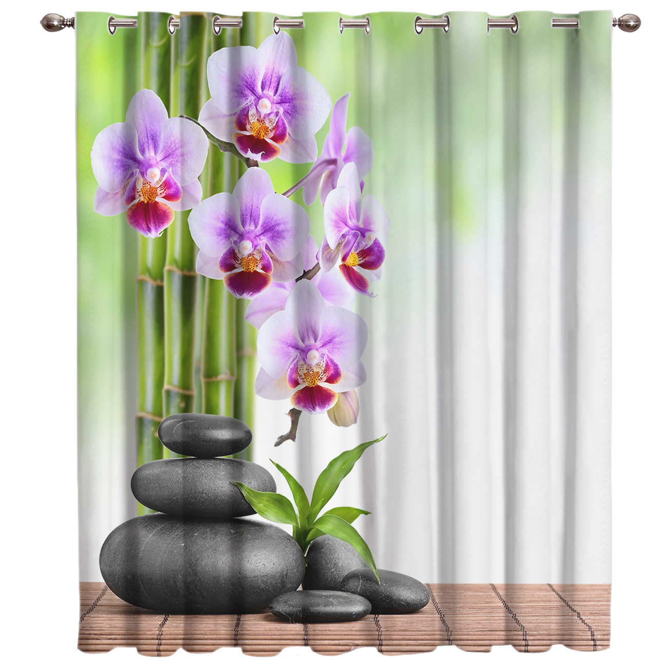 Bamboo Orchid Zen Window Blinds Living Room Bathroom Bedroom Outdoor Decor Print Curtain Panels With Grommets Outdoor Curtains