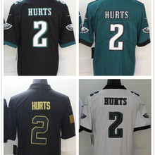 Best Quality Stitched Men's Hurts 2 American Black White Football Jersey Customized Big Size Free Shipping