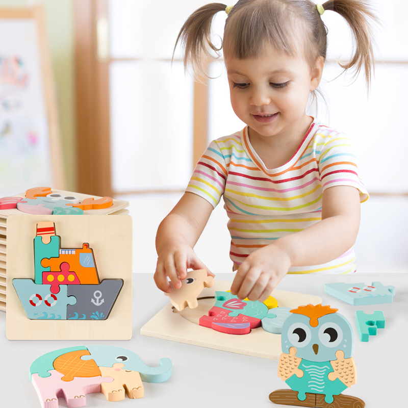 High quality baby 3D wooden puzzle educational toys early learning cognition kids cartoon grasp intelligence puzzle 2