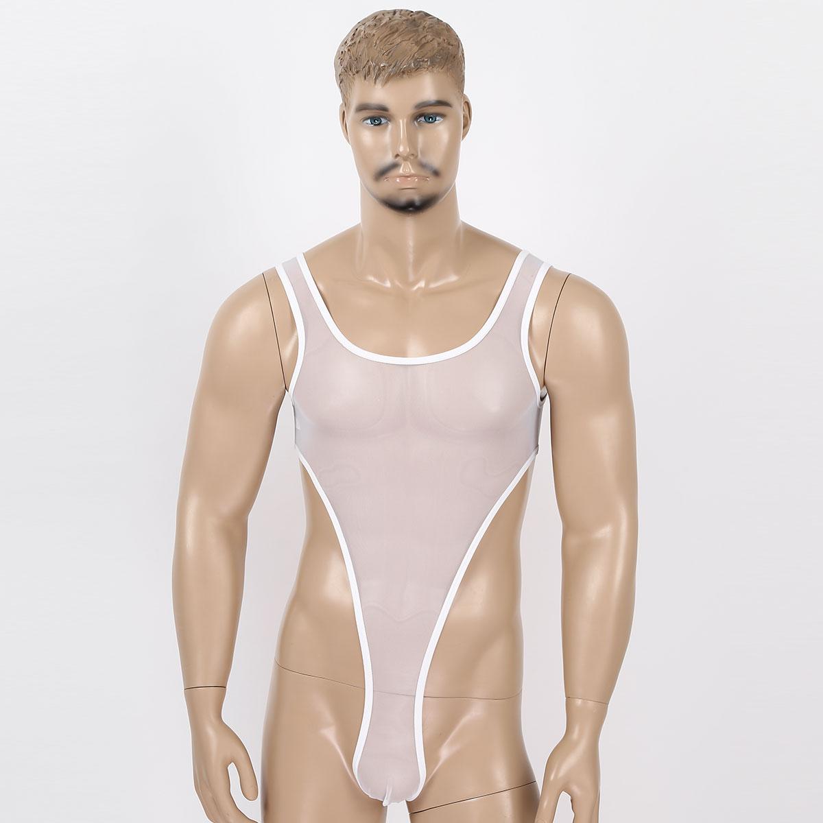 Mens One-piece See Through Sheer Mesh Undershirts U Neck Sleeveless High Cut Leotard Bodysuit Gay Wrestling Singlet Underwear