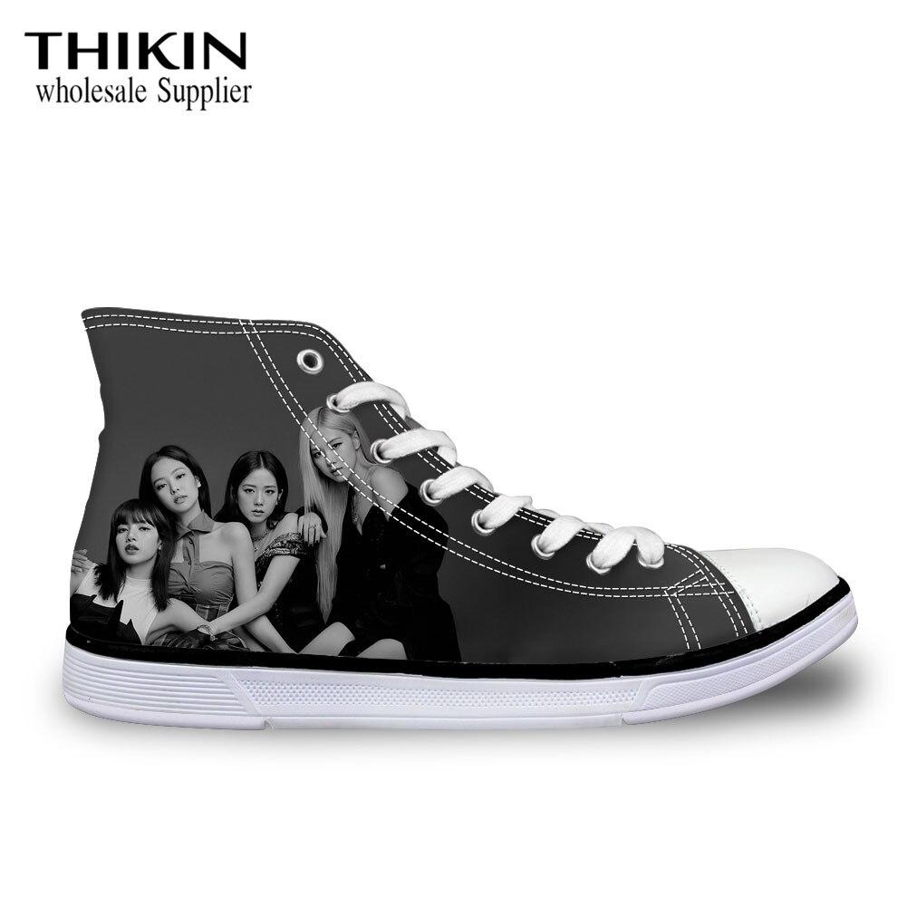 Thikin Blackpink Printing Women Shoes Hip Hop 2020 Kpop High Top