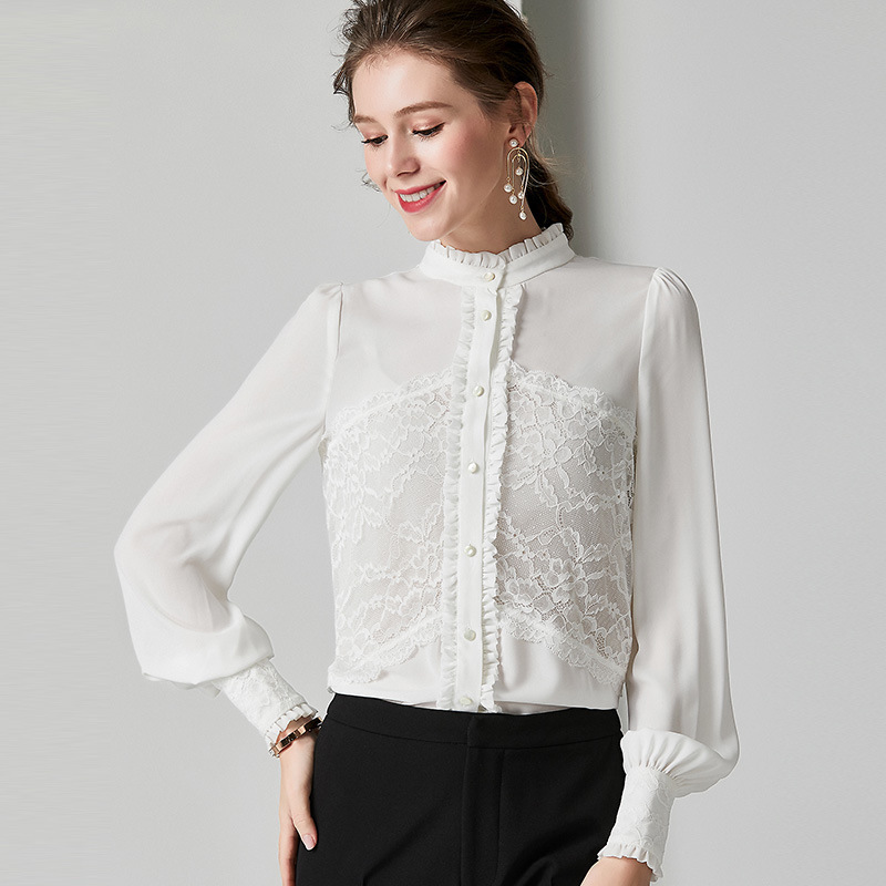 white lace silk blouse for women high quality long sleeve 4XL plus size casual sexy office dress shirts slim dropshipping
