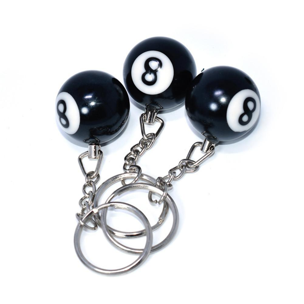 Table Ball Key Ring Billiard Pool Keychain Key Ring Snooker NO.8 Keychain Key Ring Gift Lucky For Friend Key-chain