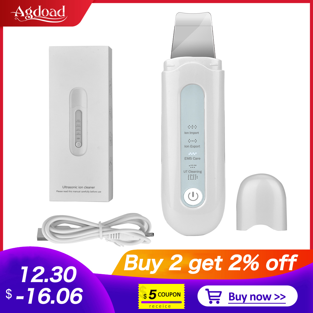 Agdoad Ultrasonic Skin Scrubber Deep Face Cleaning Machine Peeling Shovel Facial Pore Cleaner Face Skin Scrubber Lift Device