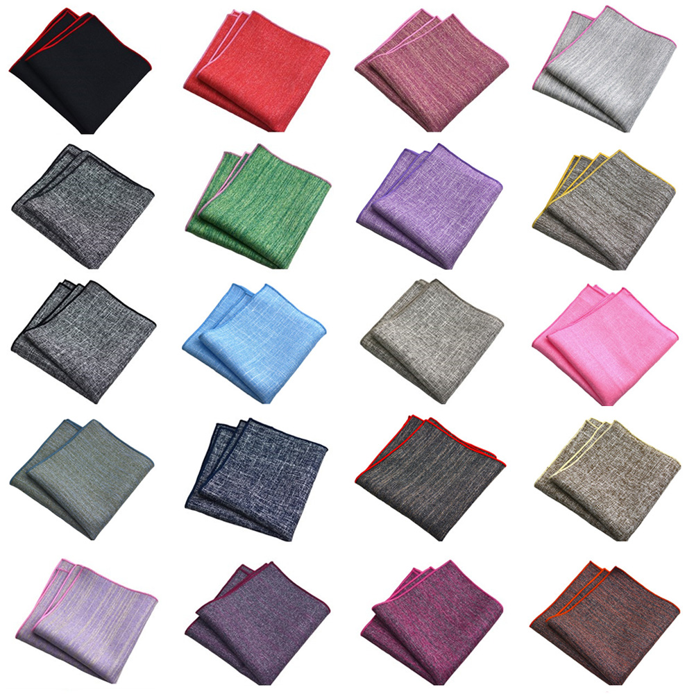 Mens Linen Cotton Plain Color Pocket Square Handkerchief Business Party Hanky