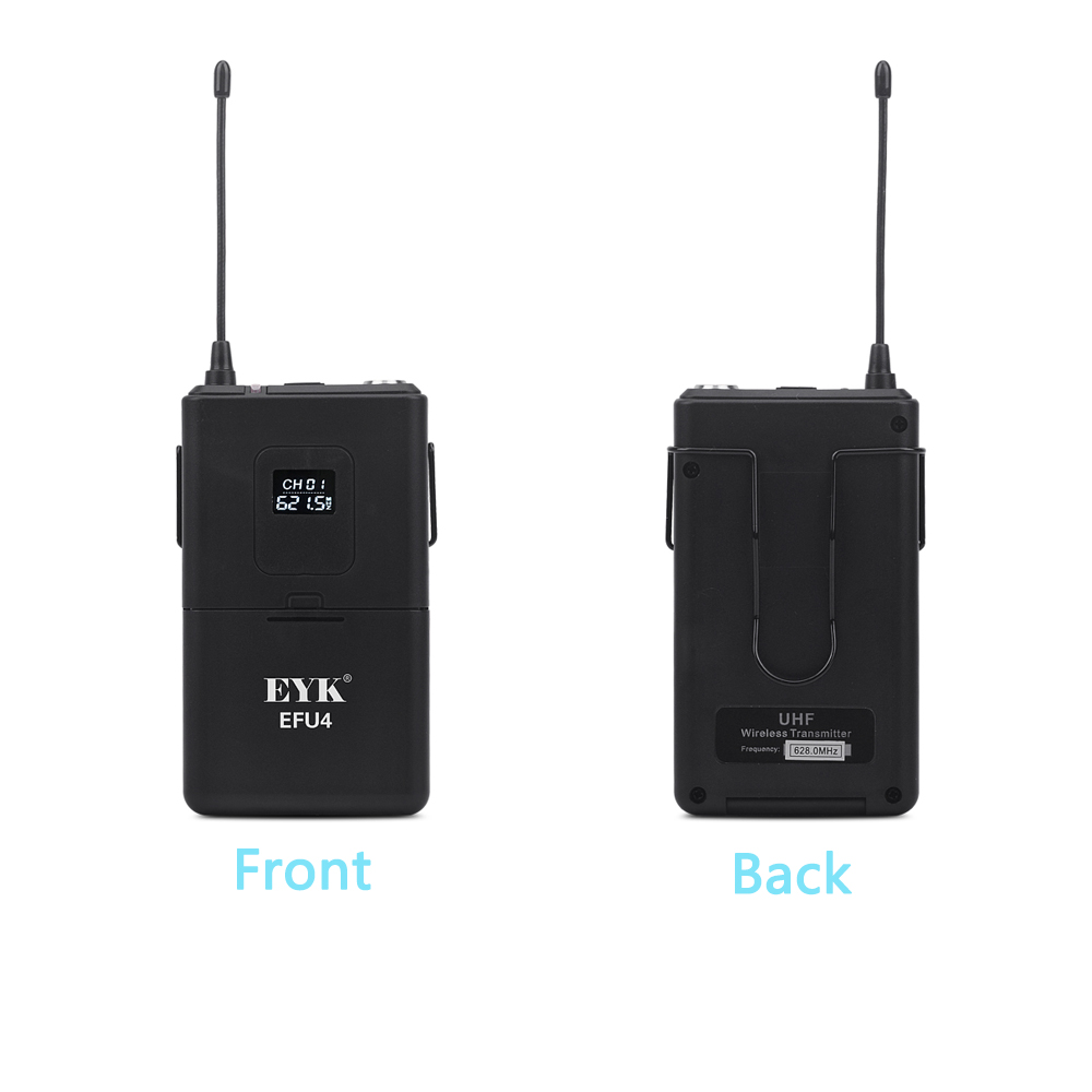 Image 4 - EYK EFU4 4 Channel UHF Wireless Microphone System with 4 Bodypack Headset and Lapel Mic for Stage Church Family Party KaraokeMicrophones   -