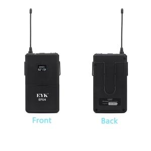Image 4 - EYK EFU4, sistema de micrófono inalámbrico UHF de 4 canales, con 4 auriculares de bolsillo y micrófono de solapa, para karaoke de fiesta familiar en la iglesia