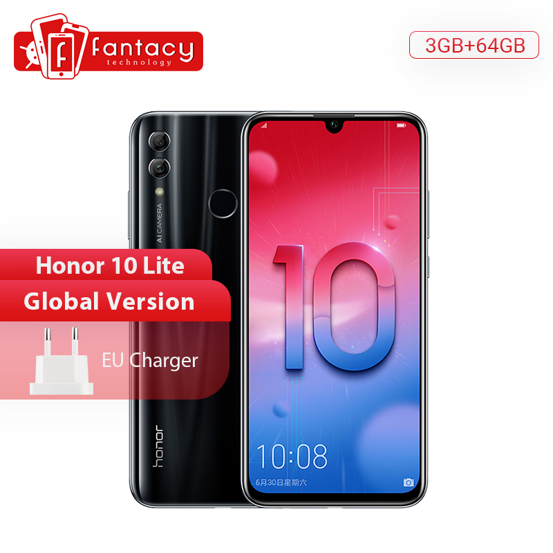 Global Version Honor 10 Lite Smartphone Kirin 710 Octa Core 6.21 inch 24MP Front Camera Mobile Phone Android 9.0 OTA Google Play