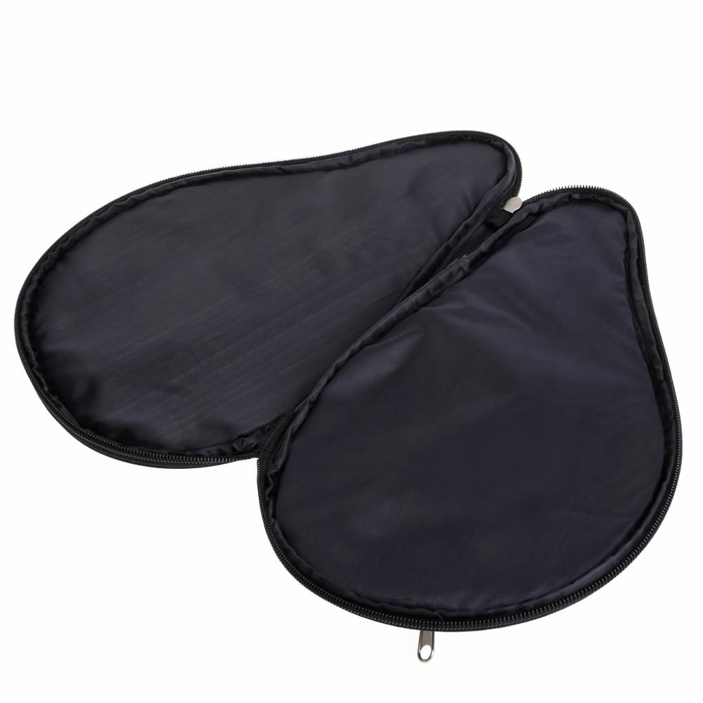 Waterproof Black Table Tennis Racket Bag PingPong Paddle Bat Case W/ Ball Pouch
