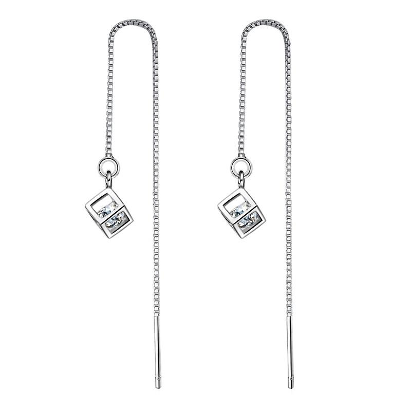 Купить с кэшбэком Fashion Beautiful 925 Sterling Silver Earrings Long Female Luxury Switzerland Rhinestone Earrings Cubic Pendant Ear Wire Jewelry