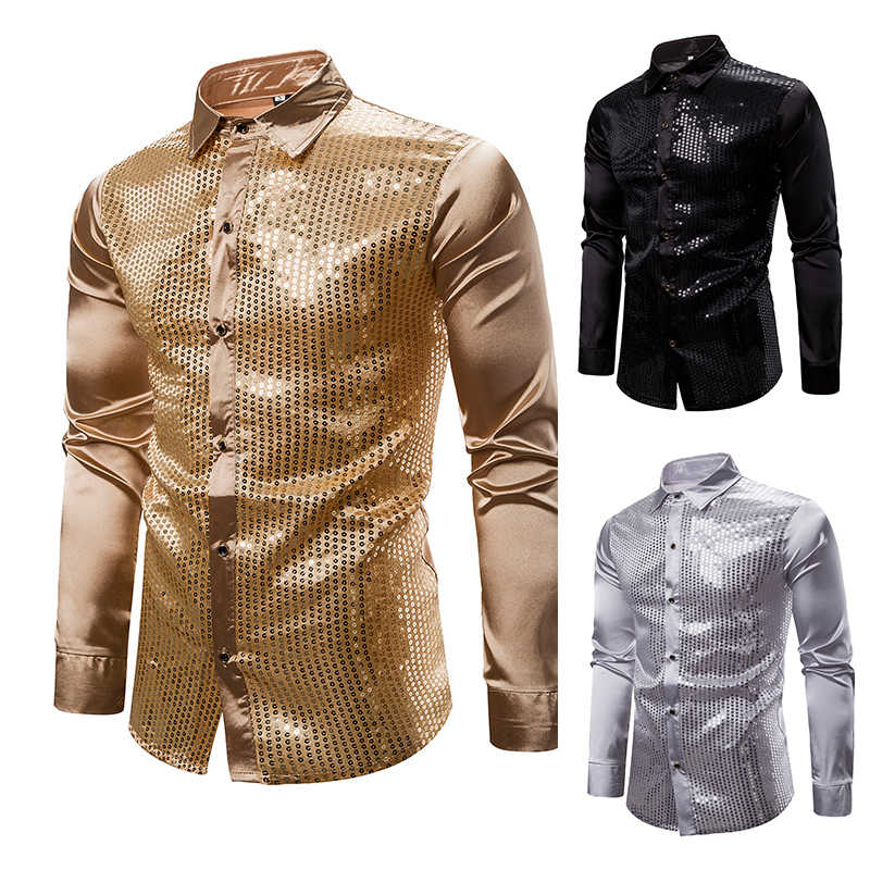 Shiny Gold Sequin Silk Dress Shirt Men Long Sleeve Shiny Disco Party Casual Shirts Male Nightclub Party Prom Hip Hop Streetwear