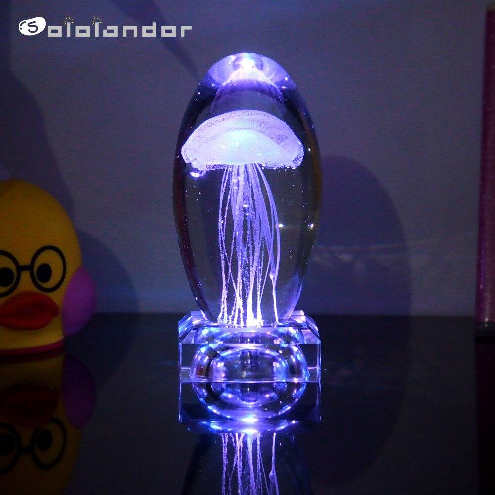 Nouveaux cadeaux créatifs méduse modèle 3D LED multicolore éclairage lampe cristal lampe de Table pour vacances chambre décoration veilleuse